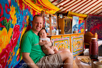 With the cutest chubbiest baby in a Mongolian Ger